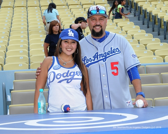 Great Los Angeles Dodger fans pose prior to game against the Arizona Diamondbacks Friday, July 29,2016 at Dodger Stadium in Los Angeles,California. Photo by Jon SooHoo/©Los Angeles Dodgers,LLC 2016