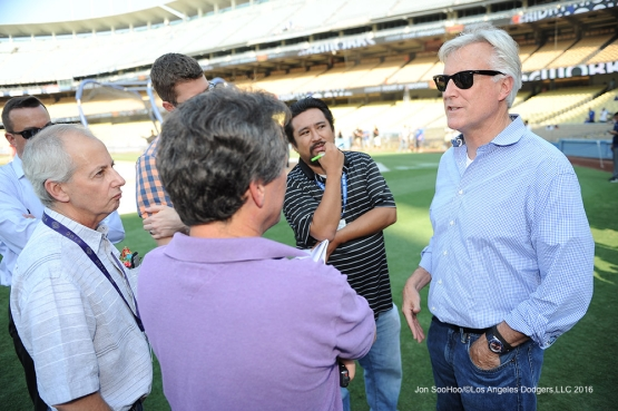 Los Angeles Dodgers Mark Walter speaks to the media prior to game against the Arizona Diamondbacks Friday, July 29,2016 at Dodger Stadium in Los Angeles,California. Photo by Jon SooHoo/©Los Angeles Dodgers,LLC 2016