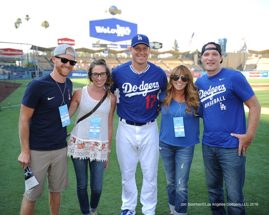 A.J.Ellis and friends prior to game against the Arizona Diamondbacks Friday, July 29,2016 at Dodger Stadium in Los Angeles,California. Photo by Jon SooHoo/©Los Angeles Dodgers,LLC 2016
