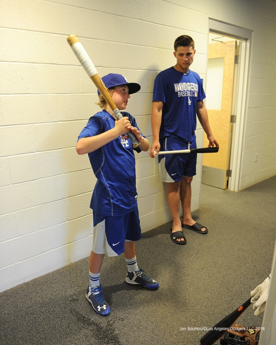 Los Angeles Dodgers Corey Seager gets hitting tips from his hitting coach Luke Bard prior to game against the Arizona Diamondbacks Friday, July 29,2016 at Dodger Stadium in Los Angeles,California. Photo by Jon SooHoo/©Los Angeles Dodgers,LLC 2016