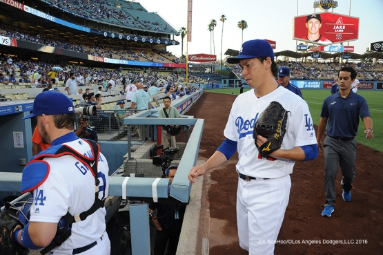 Los Angeles Dodgers Kenta Maeda prior to game against the Arizona Diamondbacks Friday, July 29,2016 at Dodger Stadium in Los Angeles,California. Photo by Jon SooHoo/©Los Angeles Dodgers,LLC 2016