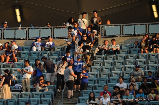 Great Los Angeles Dodger fans find their seats during game against the Arizona Diamondbacks Friday, July 29,2016 at Dodger Stadium in Los Angeles,California. Photo by Jon SooHoo/©Los Angeles Dodgers,LLC 2016