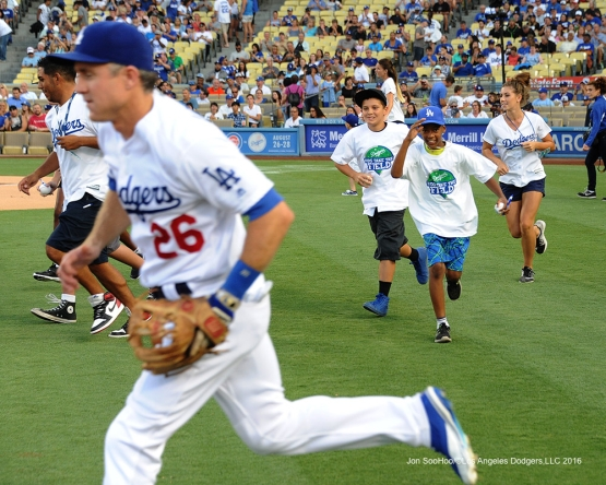 Kids take the field with the Los Angeles Dodgers during game against the Arizona Diamondbacks Friday, July 29,2016 at Dodger Stadium in Los Angeles,California. Photo by Jon SooHoo/©Los Angeles Dodgers,LLC 2016