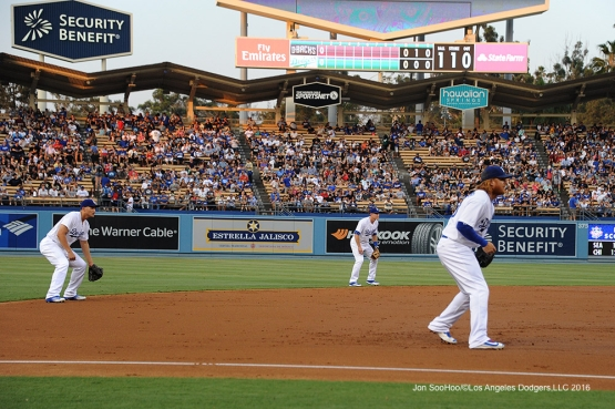 Los Angeles Dodgers infielders shift during game against the Arizona Diamondbacks Friday, July 29,2016 at Dodger Stadium in Los Angeles,California. Photo by Jon SooHoo/©Los Angeles Dodgers,LLC 2016