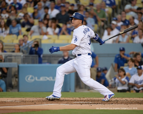 Los Angeles Dodgers Joc Pederson gets two runs in with hit during game against the Arizona Diamondbacks Friday, July 29,2016 at Dodger Stadium in Los Angeles,California. Photo by Jon SooHoo/©Los Angeles Dodgers,LLC 2016