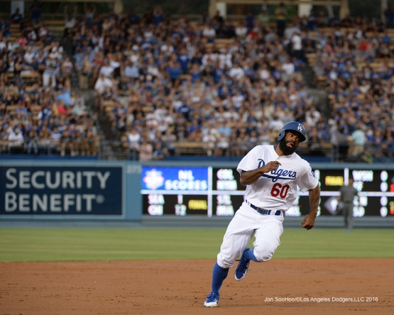 Los Angeles Dodgers Andrew Toles heads home during game against the Arizona Diamondbacks Friday, July 29,2016 at Dodger Stadium in Los Angeles,California. Photo by Jon SooHoo/©Los Angeles Dodgers,LLC 2016