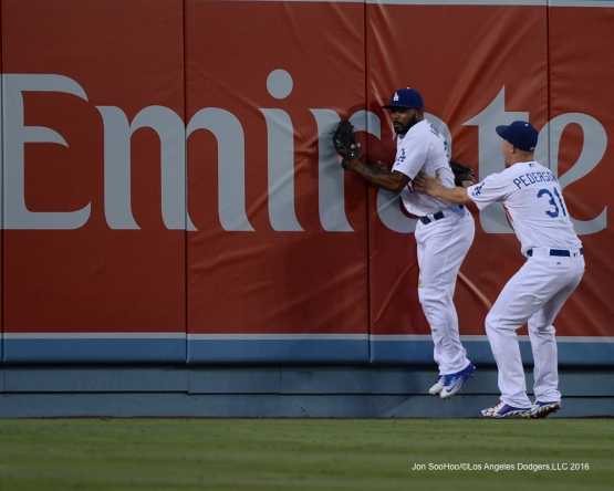 Los Angeles Dodgers Howie Kendrick and Joc Pederson in the outfield during game against the Arizona Diamondbacks Friday, July 29,2016 at Dodger Stadium in Los Angeles,California. Photo by Jon SooHoo/©Los Angeles Dodgers,LLC 2016