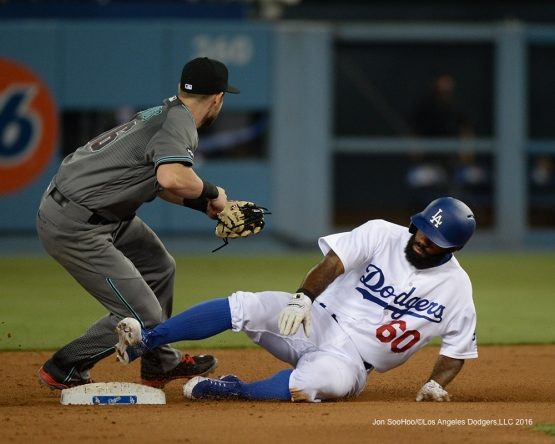 Los Angeles Dodgers Andrew Toles doubles during game against the Arizona Diamondbacks Friday, July 29,2016 at Dodger Stadium in Los Angeles,California. Photo by Jon SooHoo/©Los Angeles Dodgers,LLC 2016