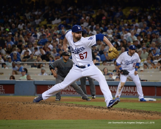 Los Angeles Dodgers Louis Coleman during game against the Arizona Diamondbacks Friday, July 29,2016 at Dodger Stadium in Los Angeles,California. Photo by Jon SooHoo/©Los Angeles Dodgers,LLC 2016