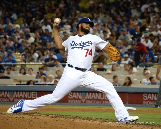 Los Angeles Dodgers Kenley Jansen during game against the Arizona Diamondbacks Friday, July 29,2016 at Dodger Stadium in Los Angeles,California. Photo by Jon SooHoo/©Los Angeles Dodgers,LLC 2016