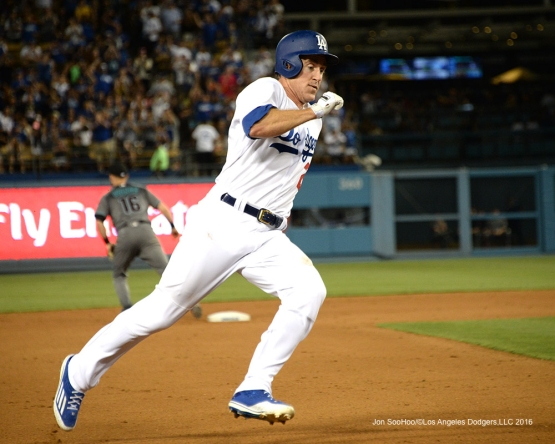 Los Angeles Dodgers Chase Utley scores during game against the Arizona Diamondbacks Friday, July 29,2016 at Dodger Stadium in Los Angeles,California. Photo by Jon SooHoo/©Los Angeles Dodgers,LLC 2016