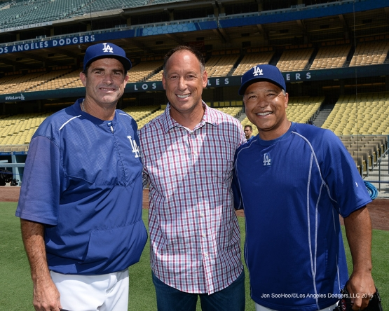 Los Angeles Dodgers Turner Ward, Dave Roberts with Luis Gonzalez prior to game against the Arizona Diamondbacks Friday, July 30,2016 at Dodger Stadium in Los Angeles,California. Photo by Jon SooHoo/©Los Angeles Dodgers,LLC 2016
