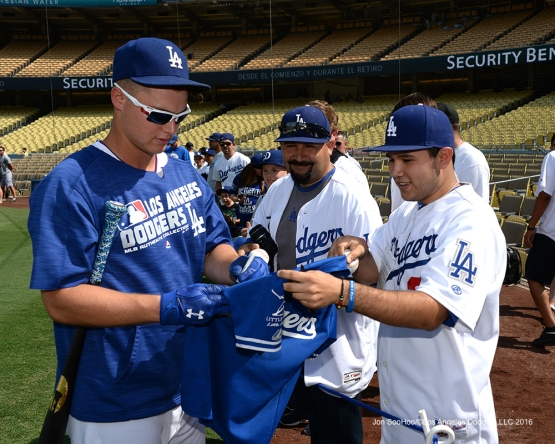 Los Angeles Dodgers Joc Pederson signs prior to game against the Arizona Diamondbacks Friday, July 30,2016 at Dodger Stadium in Los Angeles,California. Photo by Jon SooHoo/©Los Angeles Dodgers,LLC 2016