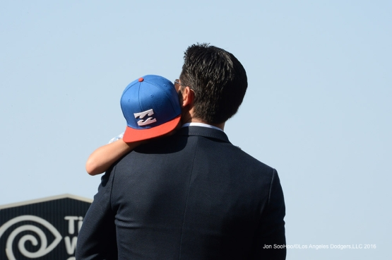 Nomar Garciaparra and son prior to game against the Arizona Diamondbacks Friday, July 30,2016 at Dodger Stadium in Los Angeles,California. Photo by Jon SooHoo/©Los Angeles Dodgers,LLC 2016