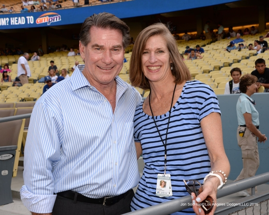 Steve Garvey and Kim Walter poses prior to game against the Arizona Diamondbacks Friday, July 30,2016 at Dodger Stadium in Los Angeles,California. Photo by Jon SooHoo/©Los Angeles Dodgers,LLC 2016