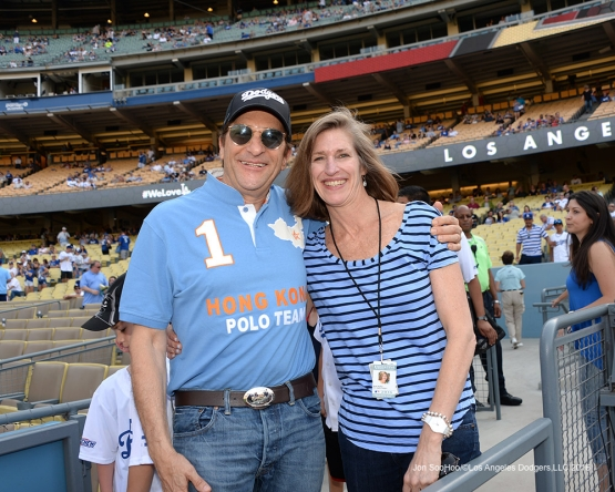 Peter Guber and Kim Walter pose prior to game against the Arizona Diamondbacks Friday, July 30,2016 at Dodger Stadium in Los Angeles,California. Photo by Jon SooHoo/©Los Angeles Dodgers,LLC 2016