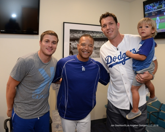 Kike Hernandez, Dave Roberts and Luke Walton and son pose prior to game against the Arizona Diamondbacks Friday, July 30,2016 at Dodger Stadium in Los Angeles,California. Photo by Jon SooHoo/©Los Angeles Dodgers,LLC 2016
