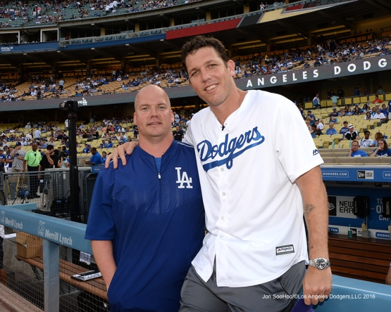 Neil Rampe and Luke Walton prior to game against the Arizona Diamondbacks Friday, July 30,2016 at Dodger Stadium in Los Angeles,California. Photo by Jon SooHoo/©Los Angeles Dodgers,LLC 2016