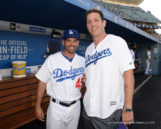 Chris Woodward and Luke Walton prior to game against the Arizona Diamondbacks Friday, July 30,2016 at Dodger Stadium in Los Angeles,California. Photo by Jon SooHoo/©Los Angeles Dodgers,LLC 2016