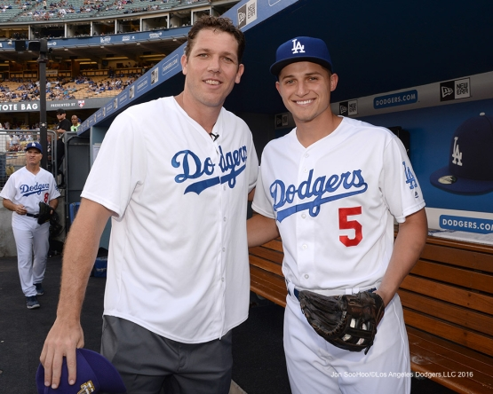 Corey Seager and Luke Walton prior to game against the Arizona Diamondbacks Friday, July 30,2016 at Dodger Stadium in Los Angeles,California. Photo by Jon SooHoo/©Los Angeles Dodgers,LLC 2016