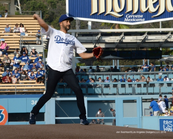 Keegan-Michael Key throws out the first pitch before game against the Arizona Diamondbacks Friday, July 30,2016 at Dodger Stadium in Los Angeles,California. Photo by Jon SooHoo/©Los Angeles Dodgers,LLC 2016