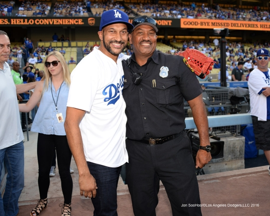 Keegan-Michael Key poses prior to game against the Arizona Diamondbacks Friday, July 30,2016 at Dodger Stadium in Los Angeles,California. Photo by Jon SooHoo/©Los Angeles Dodgers,LLC 2016