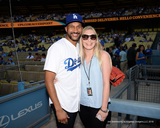 Keegan-Michael Key poses with Samantha Walter prior to game against the Arizona Diamondbacks Friday, July 30,2016 at Dodger Stadium in Los Angeles,California. Photo by Jon SooHoo/©Los Angeles Dodgers,LLC 2016