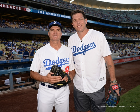 Bob Geren and Luke Walton prior to game against the Arizona Diamondbacks Friday, July 30,2016 at Dodger Stadium in Los Angeles,California. Photo by Jon SooHoo/©Los Angeles Dodgers,LLC 2016