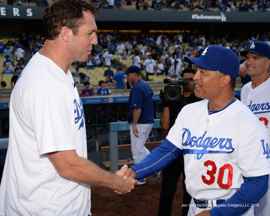 Luke Walton and Dave Roberts prior to game against the Arizona Diamondbacks Friday, July 30,2016 at Dodger Stadium in Los Angeles,California. Photo by Jon SooHoo/©Los Angeles Dodgers,LLC 2016