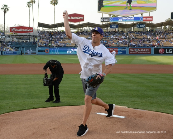 Luke Walton throws out the first pitch prior to game against the Arizona Diamondbacks Friday, July 30,2016 at Dodger Stadium in Los Angeles,California. Photo by Jon SooHoo/©Los Angeles Dodgers,LLC 2016