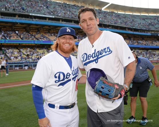 Justin Turner and Luke Walton prior to during game against the Arizona Diamondbacks Friday, July 30,2016 at Dodger Stadium in Los Angeles,California. Photo by Jon SooHoo/©Los Angeles Dodgers,LLC 2016