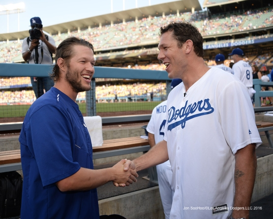 Clayton Kershaw and Luke Walton prior to during game against the Arizona Diamondbacks Friday, July 30,2016 at Dodger Stadium in Los Angeles,California. Photo by Jon SooHoo/©Los Angeles Dodgers,LLC 2016
