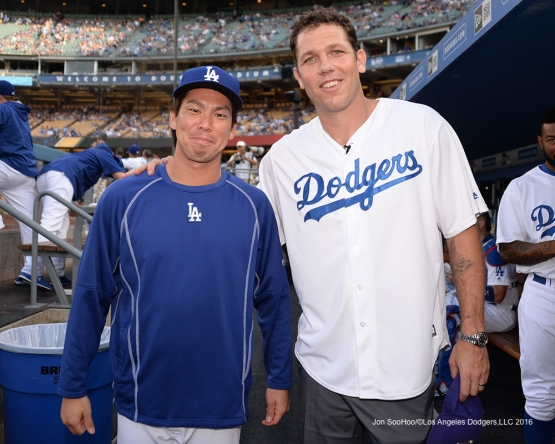 Kenta Maeda and Luke Walton prior to during game against the Arizona Diamondbacks Friday, July 30,2016 at Dodger Stadium in Los Angeles,California. Photo by Jon SooHoo/©Los Angeles Dodgers,LLC 2016