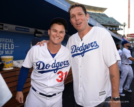 Joc Pederson and Luke Walton prior to during game against the Arizona Diamondbacks Friday, July 30,2016 at Dodger Stadium in Los Angeles,California. Photo by Jon SooHoo/©Los Angeles Dodgers,LLC 2016