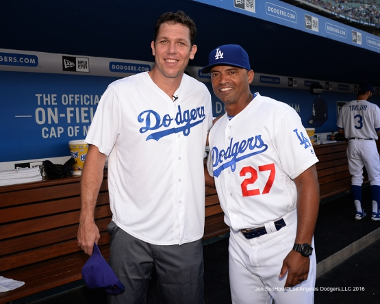 George Lombard and Luke Walton prior to during game against the Arizona Diamondbacks Friday, July 30,2016 at Dodger Stadium in Los Angeles,California. Photo by Jon SooHoo/©Los Angeles Dodgers,LLC 2016