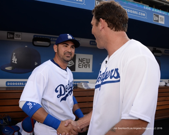Adrian Gonzalez and Luke Walton prior to during game against the Arizona Diamondbacks Friday, July 30,2016 at Dodger Stadium in Los Angeles,California. Photo by Jon SooHoo/©Los Angeles Dodgers,LLC 2016
