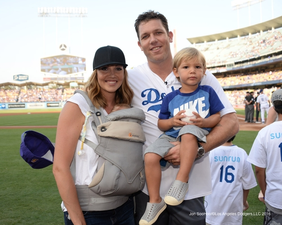 Luke Walton and family prior to during game against the Arizona Diamondbacks Friday, July 30,2016 at Dodger Stadium in Los Angeles,California. Photo by Jon SooHoo/©Los Angeles Dodgers,LLC 2016