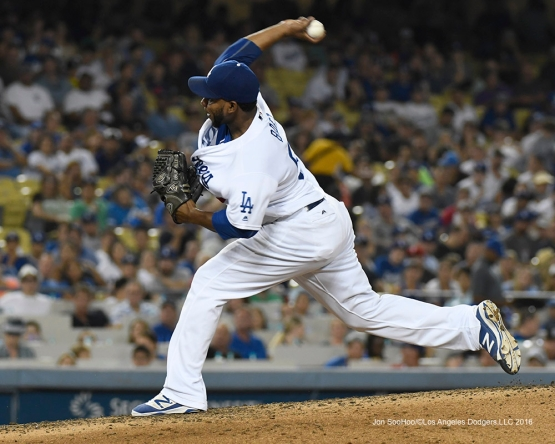Pedro Baez during game against the Arizona Diamondbacks Friday, July 30,2016 at Dodger Stadium in Los Angeles,California. Photo by Jon SooHoo/©Los Angeles Dodgers,LLC 2016