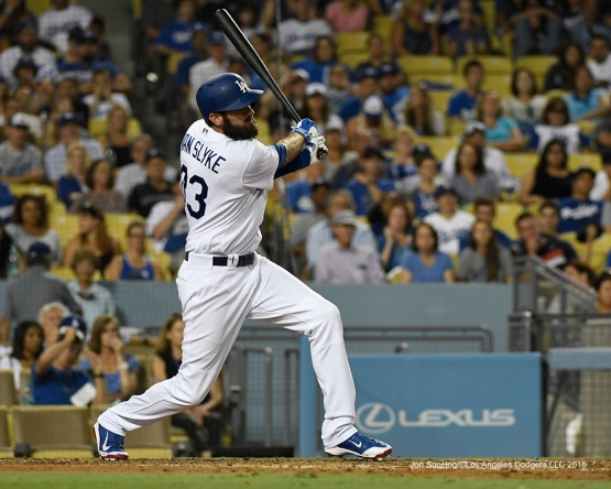 Los Angeles Dodgers Scott Van Slyke singles during game against the Arizona Diamondbacks Friday, July 30,2016 at Dodger Stadium in Los Angeles,California. Photo by Jon SooHoo/©Los Angeles Dodgers,LLC 2016
