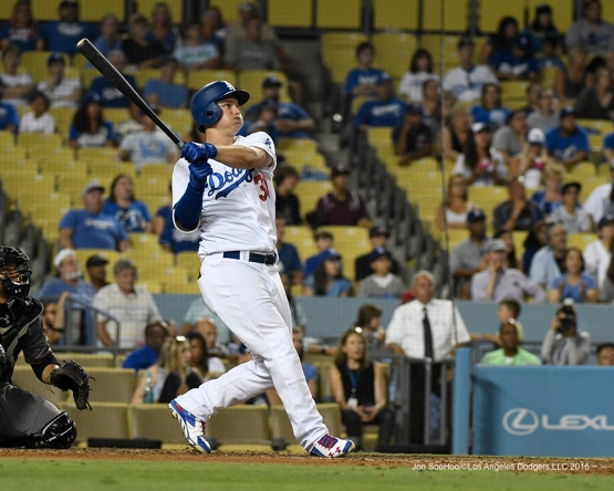 Joc Pederson homers  during game against the Arizona Diamondbacks Friday, July 30,2016 at Dodger Stadium in Los Angeles,California. Photo by Jon SooHoo/©Los Angeles Dodgers,LLC 2016