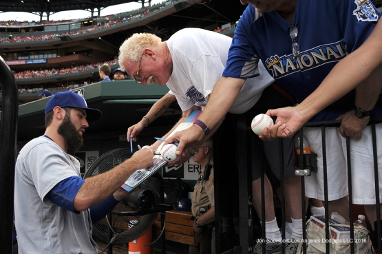 Los Angeles Dodgers Scott Van Slyke signs for fans prior to game against the St. Louis Cardinals at Busch Stadium Friday, July 22, 2016 in St.Louis, Missouri.  Photo by Jon SooHoo/©Los Angeles Dodgers,LLC 2016