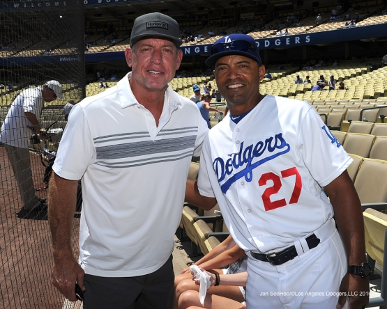 Troy Aikman and Los Angeles Dodgers coach George Lombard prior to  game against the Tampa Bay Rays Wednesday, July 27,2016 at Dodger Stadium in Los Angeles,California. Photo by Jon SooHoo©Los Angeles Dodgers,LLC 2016