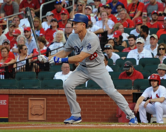 Los Angeles Dodgers Chase Utley during game against the St. Louis Cardinals at Busch Stadium Sunday, July 24, 2016 in St.Louis, Missouri. Photo by Jon SooHoo/©Los Angeles Dodgers,LLC 2016