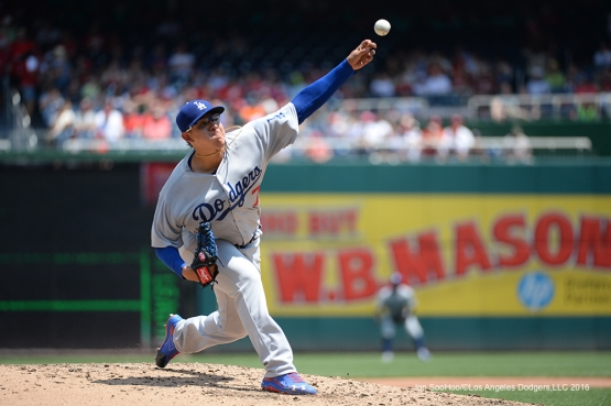 Los Angeles Dodgers Julio Urias during game against the Washington Nationals Thursday, July 21, 2016 at Nationals Park in Washington,DC. Photo by Jon SooHoo/©Los Angeles Dodgers,LLC 2016