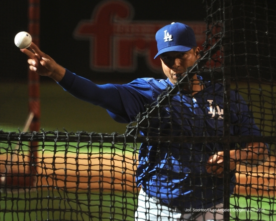Los Angeles Dodgers Juan Castro throws bp before game against the Arizona Diamondbacks Friday, July 15, 2016 at Chase Field in Phoenix, Arizona. Photo by Jon SooHoo/©Los Angeles Dodgers,LLC 2016