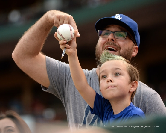 Great Los Angeles Dodger fans prior to game against the St. Louis Cardinals at Busch Stadium Friday, July 22, 2016 in St.Louis, Missouri.  Photo by Jon SooHoo/©Los Angeles Dodgers,LLC 2016