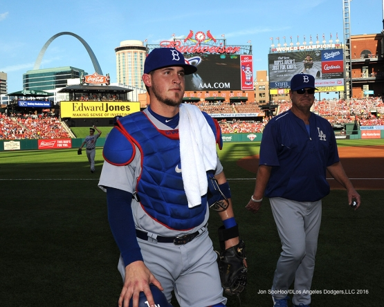 Los Angeles Dodgers Yasmani Grandal prior to game against the St. Louis Cardinals at Busch Stadium Saturday, July 23, 2016 in St.Louis, Missouri.  Photo by Jon SooHoo/©Los Angeles Dodgers,LLC 2016