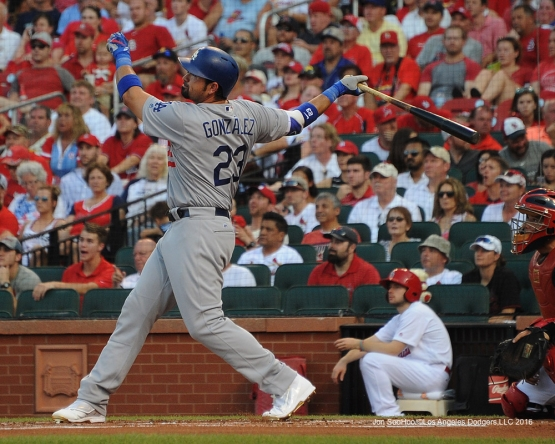 Los Angeles Dodgers Adrian Gonzalez hits a grand slam during game against the St. Louis Cardinals at Busch Stadium Sunday, July 24, 2016 in St.Louis, Missouri. Photo by Jon SooHoo/©Los Angeles Dodgers,LLC 2016