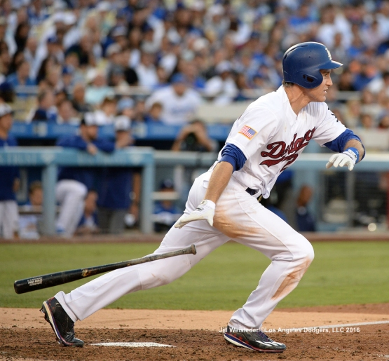 Chase Utley connects for a RBI single. Jill Weisleder/Dodgers