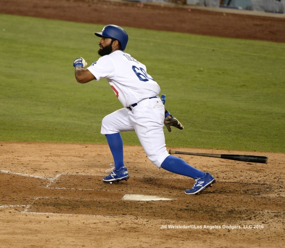 Andrew Toles makes his first appearance on a Major League roster during tonight's game against the Padres. Jill Weisleder/LA Dodgers